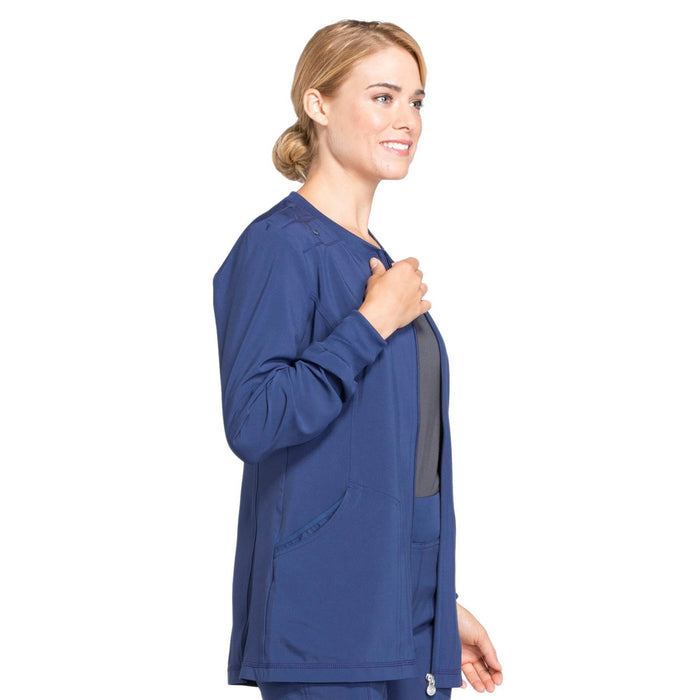 Cherokee Infinity CK370A Scrubs Jacket Women's Zip Front Warm-Up Navy 5XL