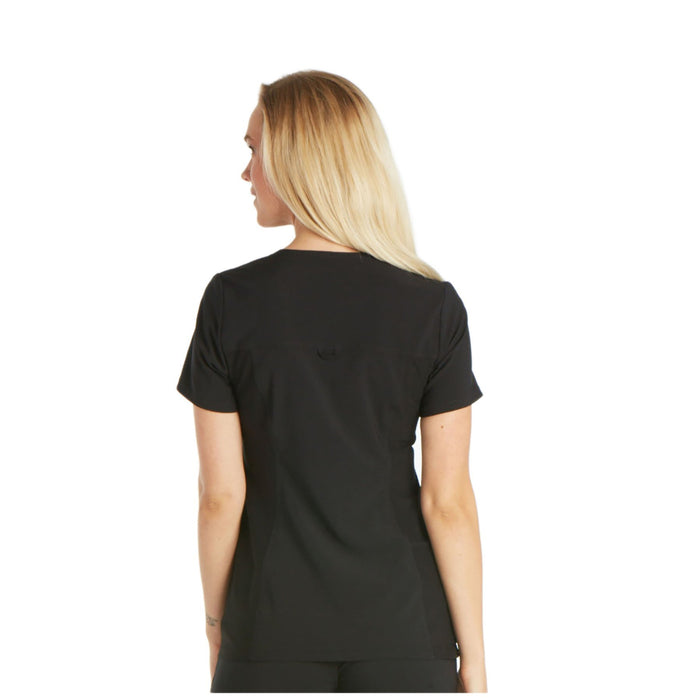 Cherokee iflex CK605 Scrubs Top Women's V-Neck Knit Panel Black 3XL