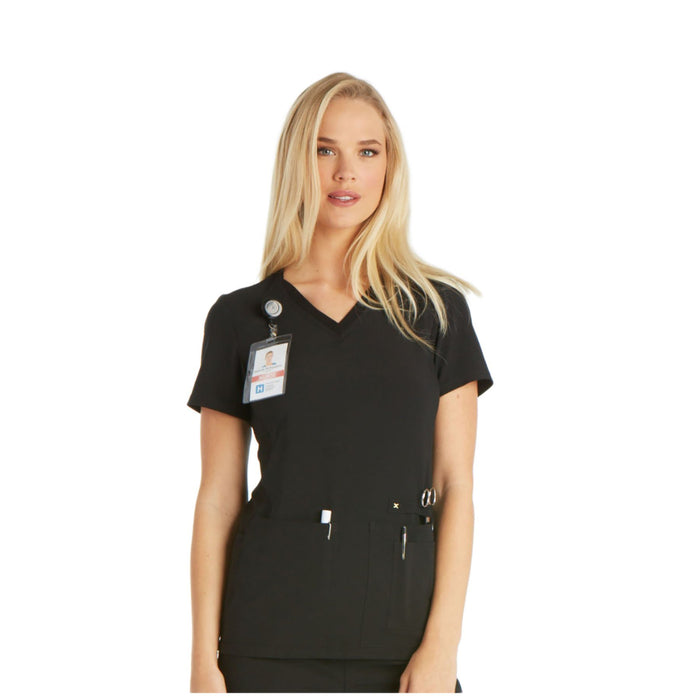 Cherokee iflex CK605 Scrubs Top Women's V-Neck Knit Panel Black 4XL