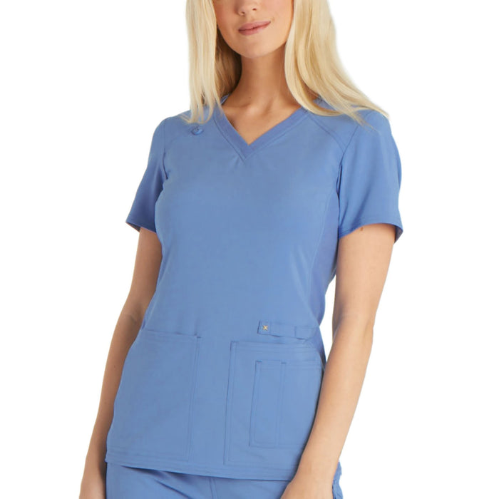 Cherokee iflex CK605 Scrubs Top Women's V-Neck Knit Panel Ciel Blue