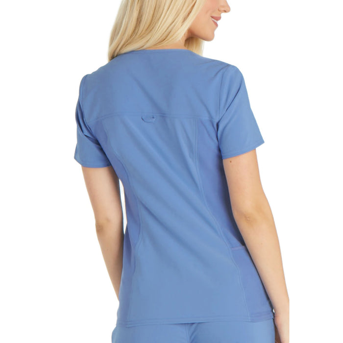 Cherokee iflex CK605 Scrubs Top Women's V-Neck Knit Panel Ciel Blue 3XL