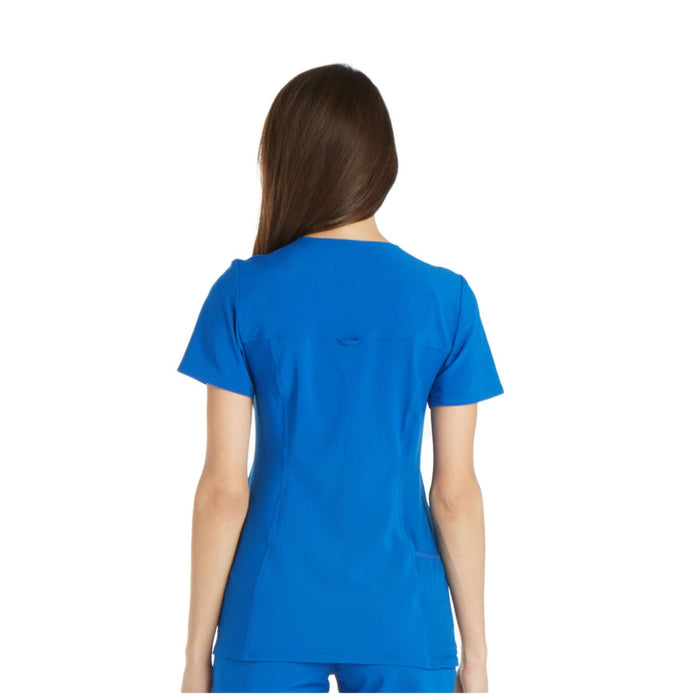 Cherokee iflex CK605 Scrubs Top Women's V-Neck Knit Panel Royal 3XL