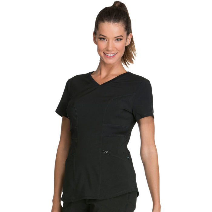 Cherokee Infinity CK623A Scrubs Top Women's V-Neck Black 4XL