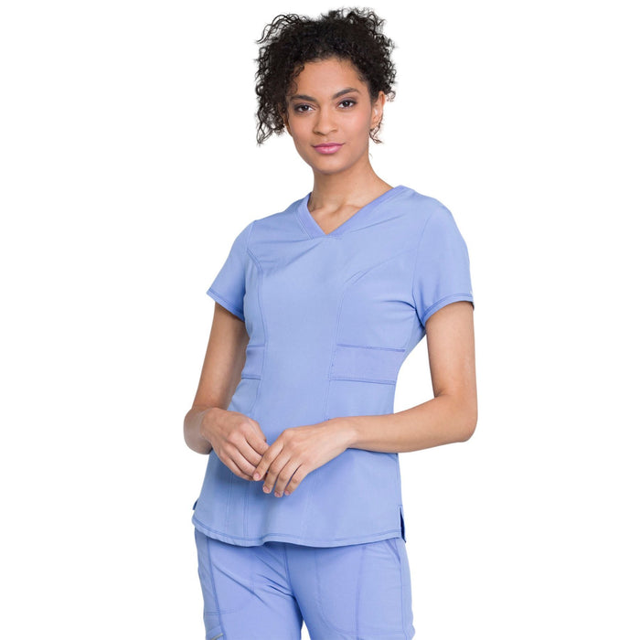 Cherokee Infinity CK623A Scrubs Top Women's V-Neck Ciel Blue