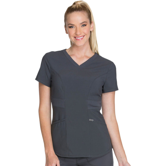 Cherokee Infinity CK623A Scrubs Top Women's V-Neck Pewter