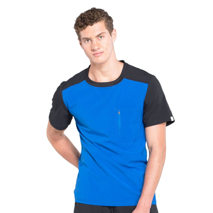 Cherokee Infinity CK630A Scrubs Top Men's Colorblock Crew Neck Royal