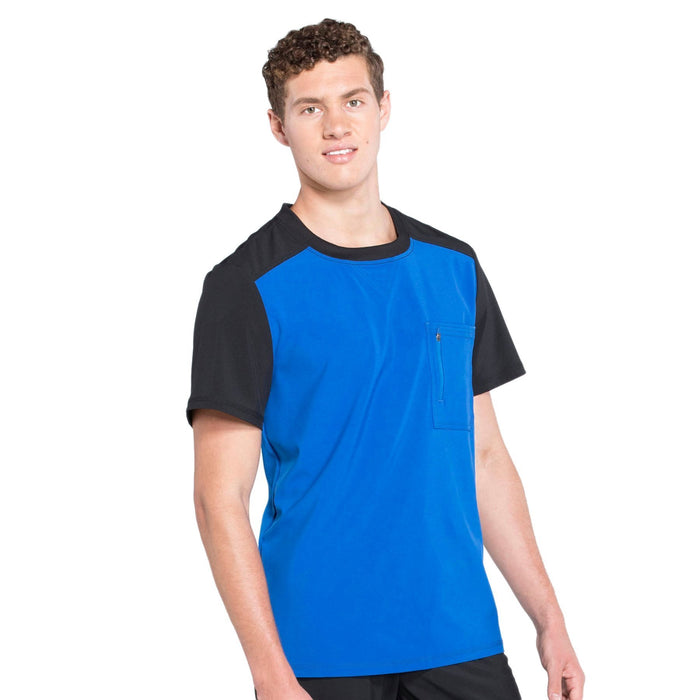 Cherokee Infinity CK630A Scrubs Top Men's Colorblock Crew Neck Royal 5XL