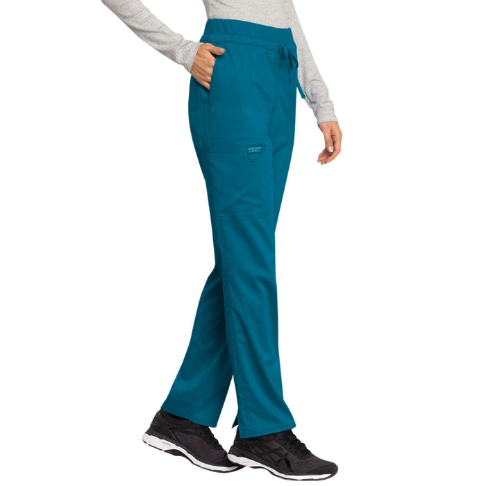 Cherokee Workwear Revolution WW105 Scrubs Pants Women's Mid Rise Tapered Leg Drawstring Caribbean Blue 5XL