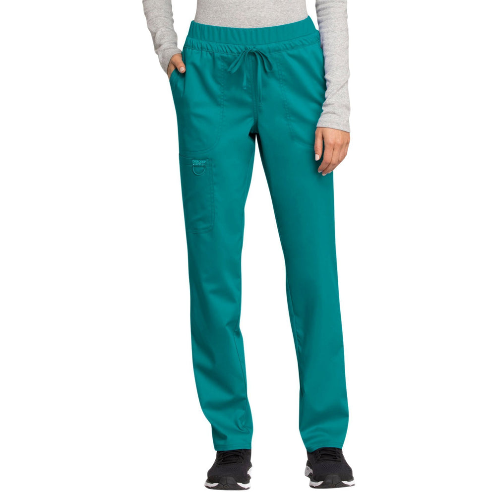 Cherokee Workwear Revolution WW105 Scrubs Pants Women's Mid Rise Tapered Leg Drawstring Teal Blue