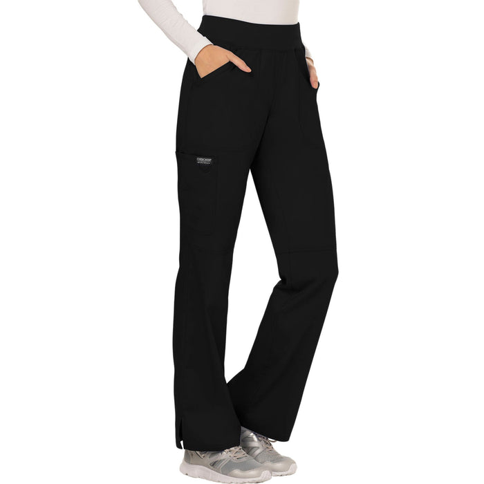 Cherokee Workwear Revolution WW110 Scrubs Pants Women's Mid Rise Straight Leg Pull-on Black 5XL
