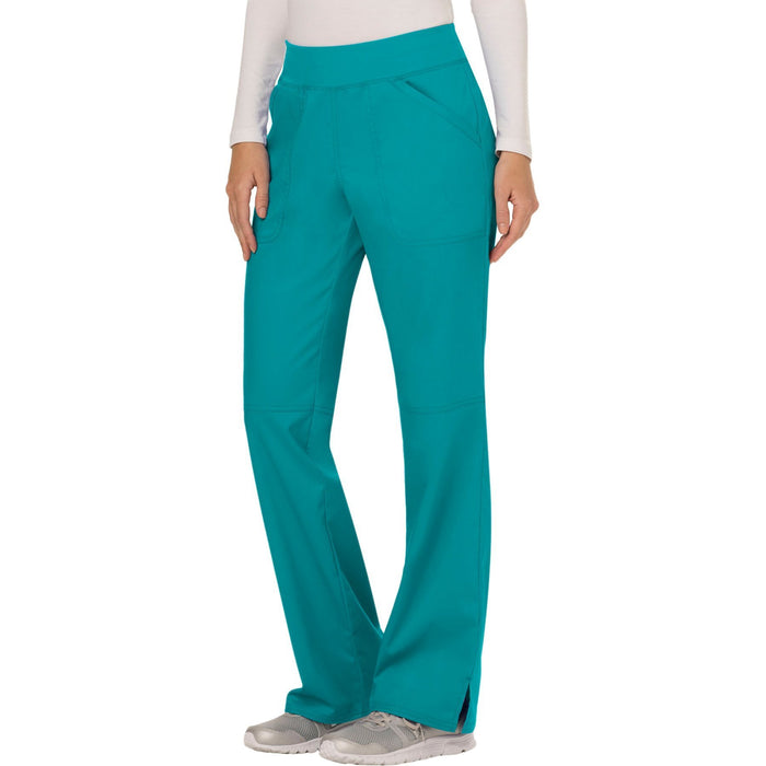 Cherokee Workwear Revolution WW110 Scrubs Pants Women's Mid Rise Straight Leg Pull-on Teal Blue 4XL