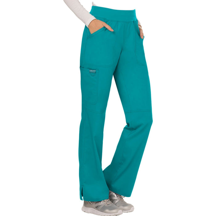 Cherokee Workwear Revolution WW110 Scrubs Pants Women's Mid Rise Straight Leg Pull-on Teal Blue 5XL