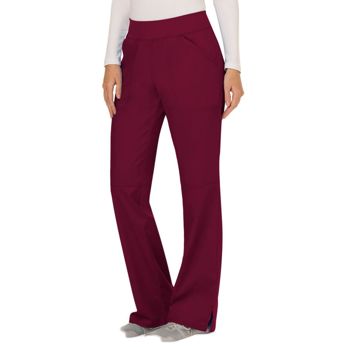 Cherokee Workwear Revolution WW110 Scrubs Pants Women's Mid Rise Straight Leg Pull-on Wine 4XL