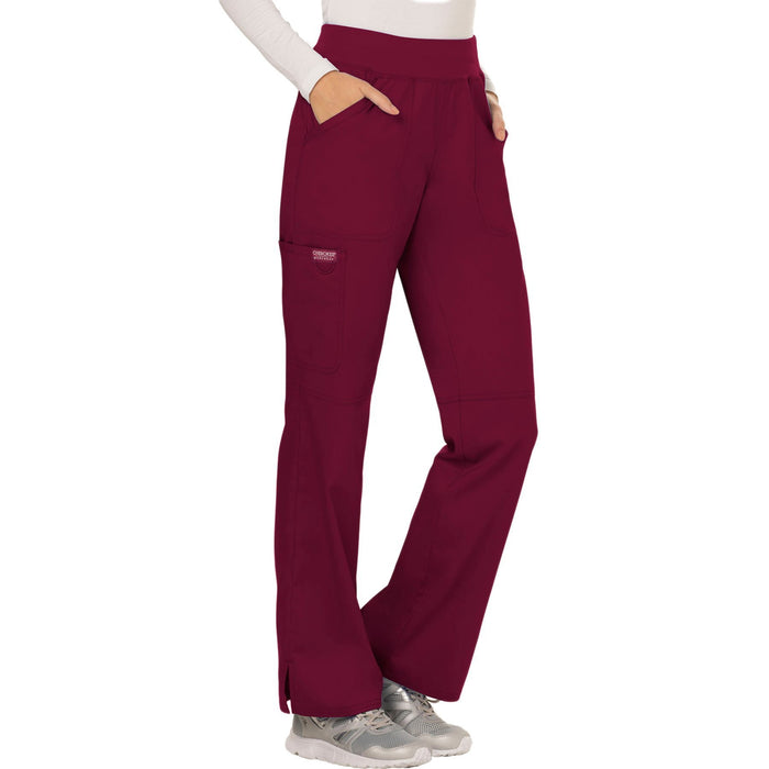 Cherokee Workwear Revolution WW110 Scrubs Pants Women's Mid Rise Straight Leg Pull-on Wine 5XL