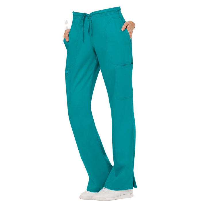 Cherokee Workwear Revolution WW120 Scrubs Pants Women's Mid Rise Flare Drawstring Teal Blue 4XL