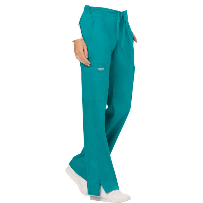 Cherokee Workwear Revolution WW120 Scrubs Pants Women's Mid Rise Flare Drawstring Teal Blue 5XL