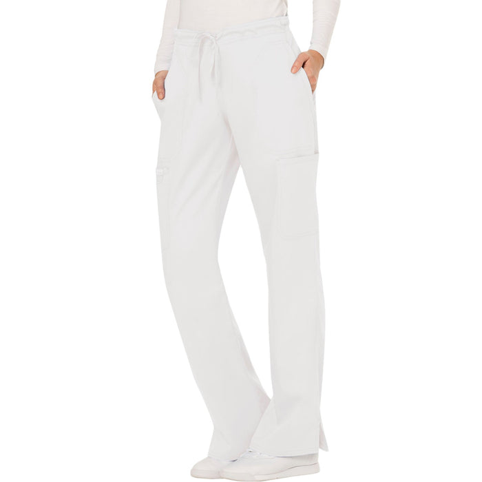 Cherokee Workwear Revolution WW120 Scrubs Pants Women's Mid Rise Moderate Flare Drawstring White 4XL