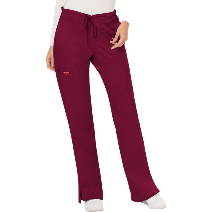 Cherokee Workwear Revolution WW120 Scrubs Pants Women's Mid Rise Moderate Flare Drawstring Wine