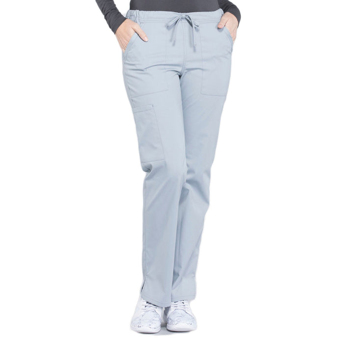Cherokee Workwear Professionals WW160 Scrubs Pants Women's Mid Rise Straight Leg Drawstring Grey