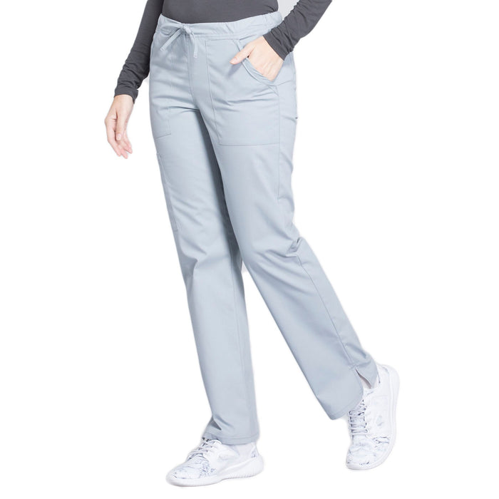 Cherokee Workwear Professionals WW160 Scrubs Pants Women's Mid Rise Straight Leg Drawstring Grey 4XL