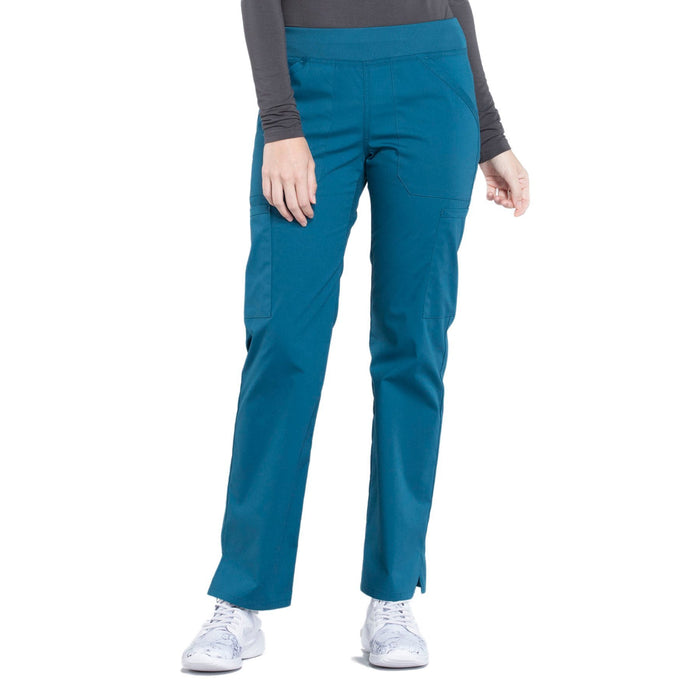 Cherokee Workwear Professionals WW170 Scrubs Pants Women's Mid Rise Straight Leg Pull-on Cargo Caribbean Blue