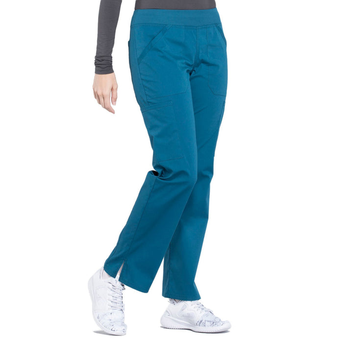 Cherokee Workwear Professionals WW170 Scrubs Pants Women's Mid Rise Straight Leg Pull-on Cargo Caribbean Blue 5XL