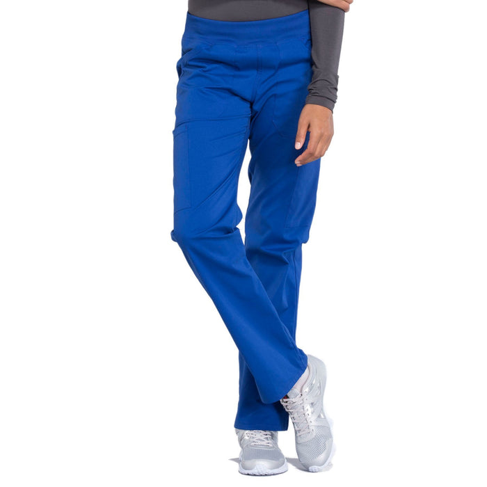 Cherokee Workwear Professionals WW170 Scrubs Pants Women's Mid Rise Straight Leg Pull-on Cargo Galaxy Blue