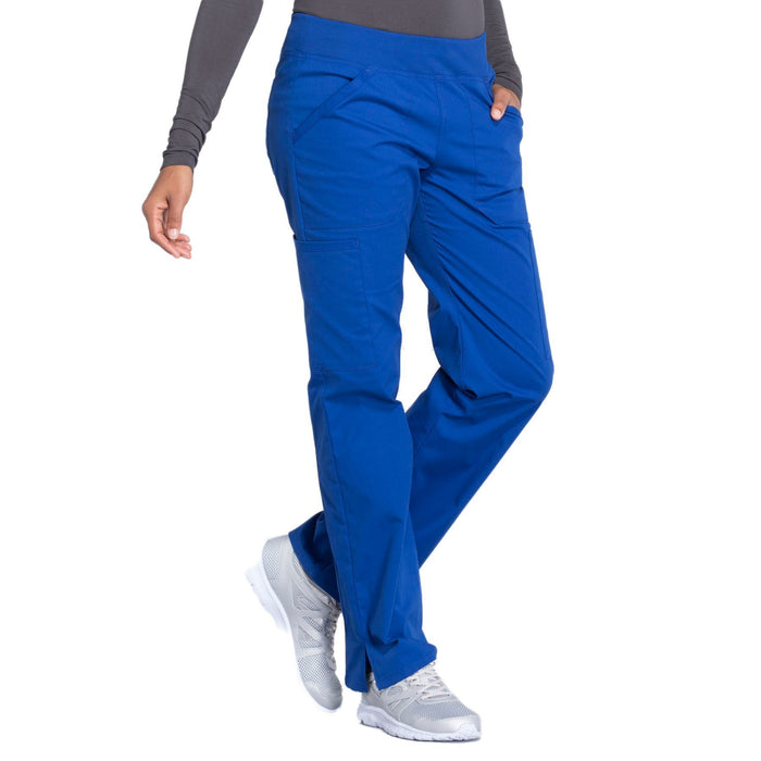 Cherokee Workwear Professionals WW170 Scrubs Pants Women's Mid Rise Straight Leg Pull-on Cargo Galaxy Blue 5XL
