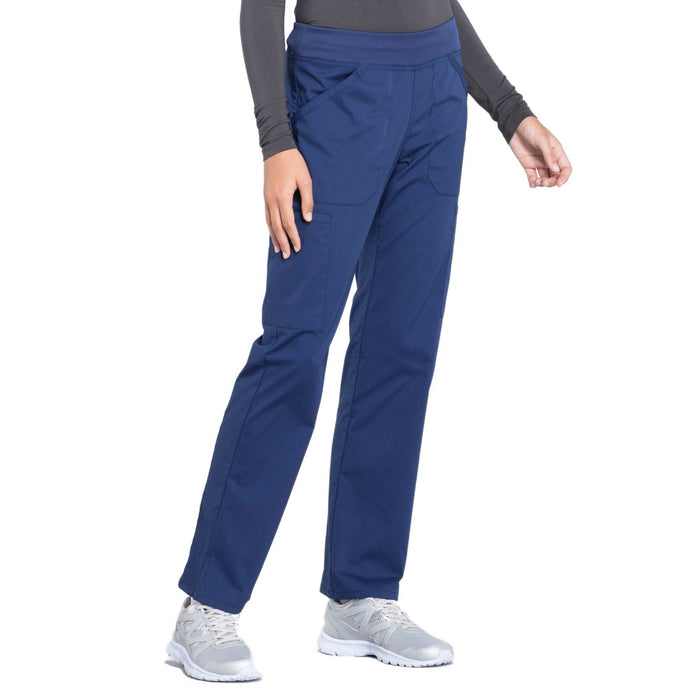Cherokee Workwear Professionals WW170 Scrubs Pants Women's Mid Rise Straight Leg Pull-on Cargo Navy 5XL