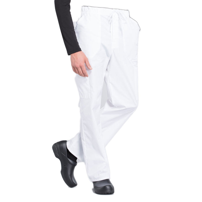 Cherokee Workwear Professionals WW190 Scrubs Pants Men's Tapered Leg Drawstring Cargo White 5XL