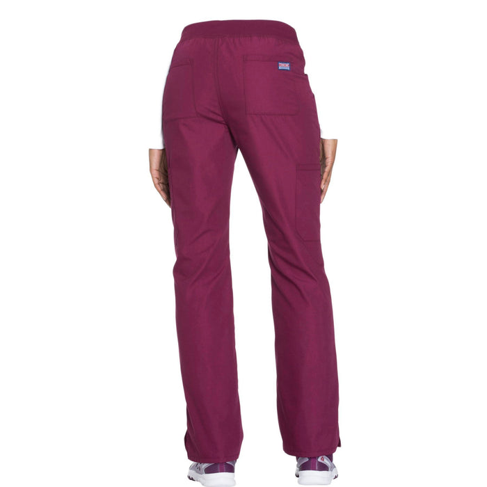 Cherokee Workwear WW210 Scrubs Pants Women's Mid Rise Straight Leg Pull-on Cargo Wine 3XL