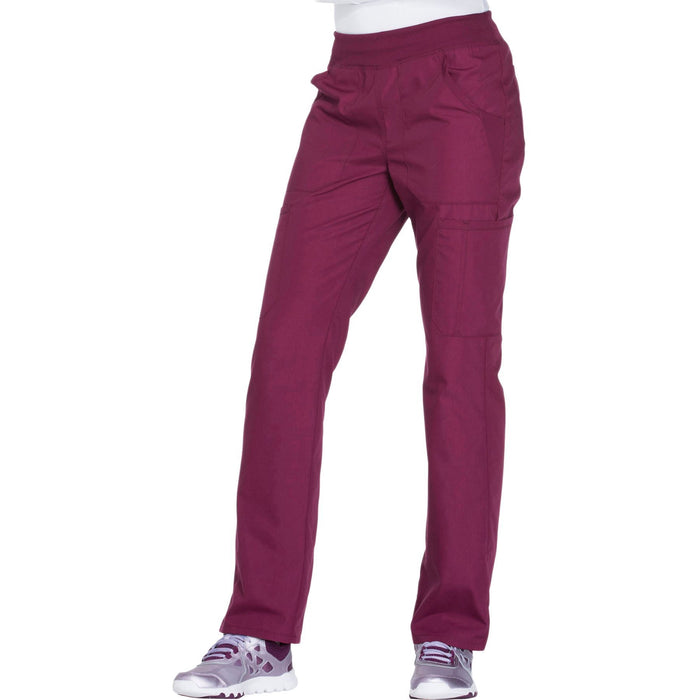 Cherokee Workwear WW210 Scrubs Pants Women's Mid Rise Straight Leg Pull-on Cargo Wine 4XL