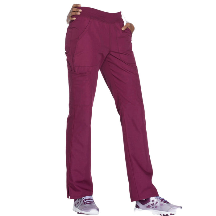 Cherokee Workwear WW210 Scrubs Pants Women's Mid Rise Straight Leg Pull-on Cargo Wine 5XL