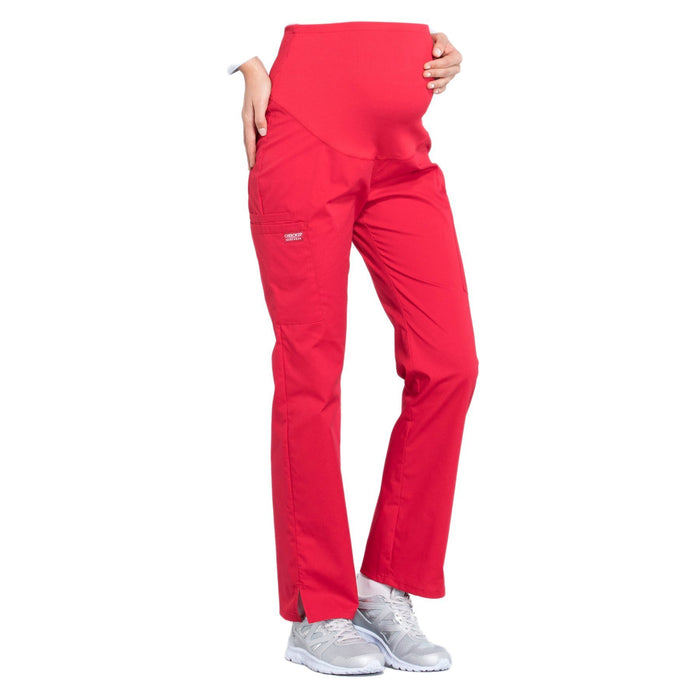 Cherokee Workwear Professionals WW220 Scrubs Pants Maternity Straight Leg Red M