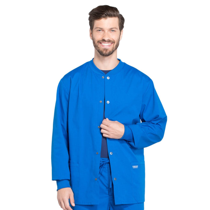 Cherokee Workwear Professionals WW360 Scrubs Jacket Men's Warm-up Royal