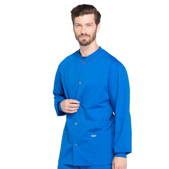 Cherokee Workwear Professionals WW360 Scrubs Jacket Men's Warm-up Royal 4XL