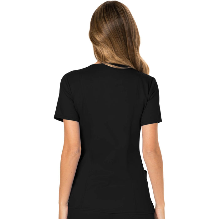 Cherokee Workwear Revolution WW610 Scrubs Top Women's Mock Wrap Black 3XL