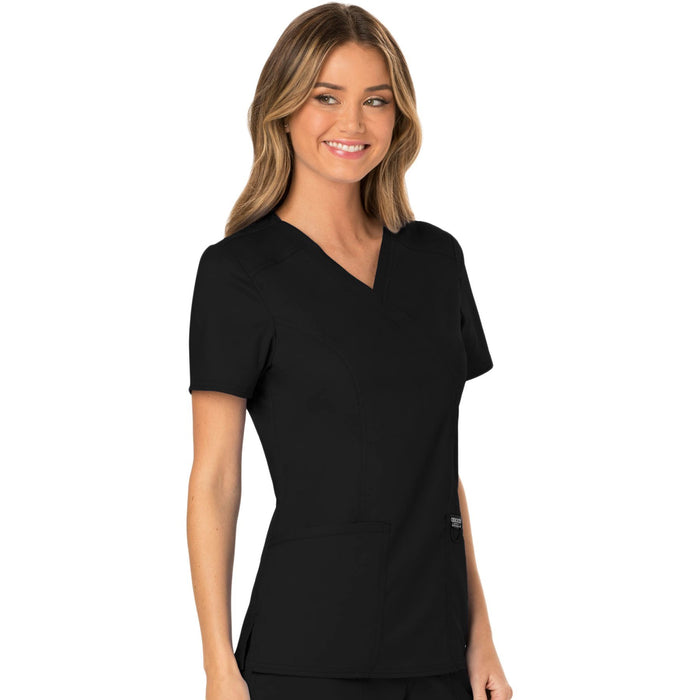 Cherokee Workwear Revolution WW610 Scrubs Top Women's Mock Wrap Black 5XL