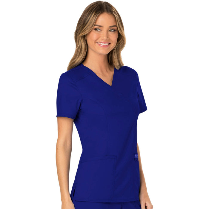 Cherokee Workwear Revolution WW610 Scrubs Top Women's Mock Wrap Galaxy Blue 5XL