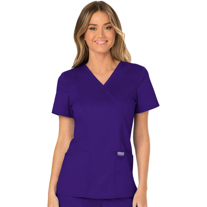 Cherokee Workwear Revolution WW610 Scrubs Top Women's Mock Wrap Grape
