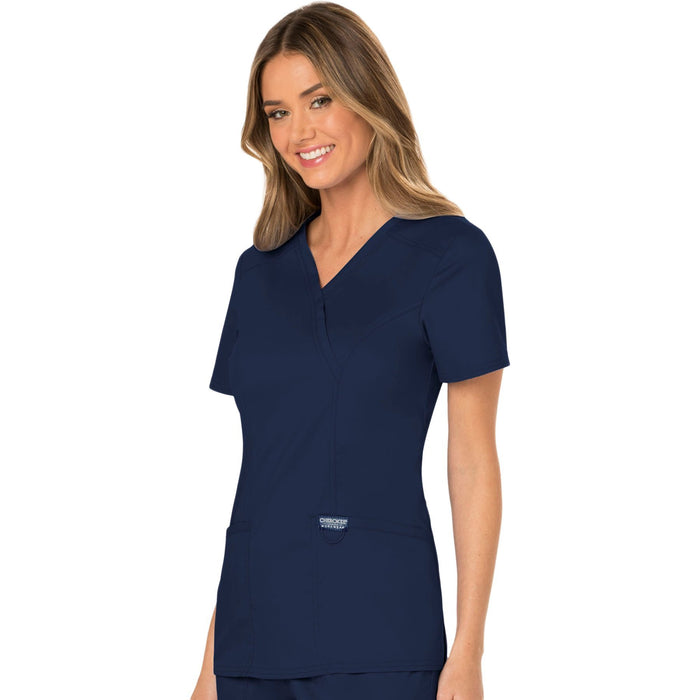 Cherokee Workwear Revolution WW610 Scrubs Top Women's Mock Wrap Navy 4XL