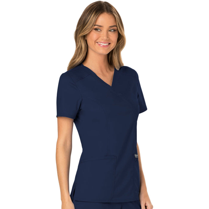 Cherokee Workwear Revolution WW610 Scrubs Top Women's Mock Wrap Navy 5XL