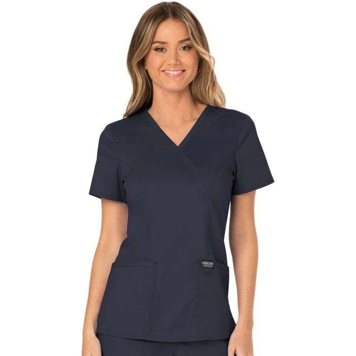 Cherokee Workwear Revolution WW610 Scrubs Top Women's Mock Wrap Pewter