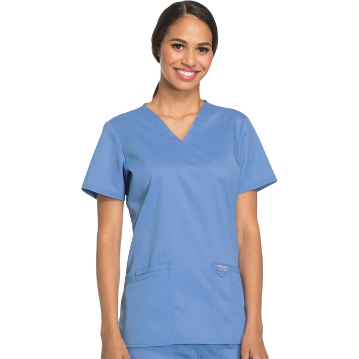 Cherokee Workwear Revolution WW620 Scrubs Top Women's V-Neck Ciel Blue