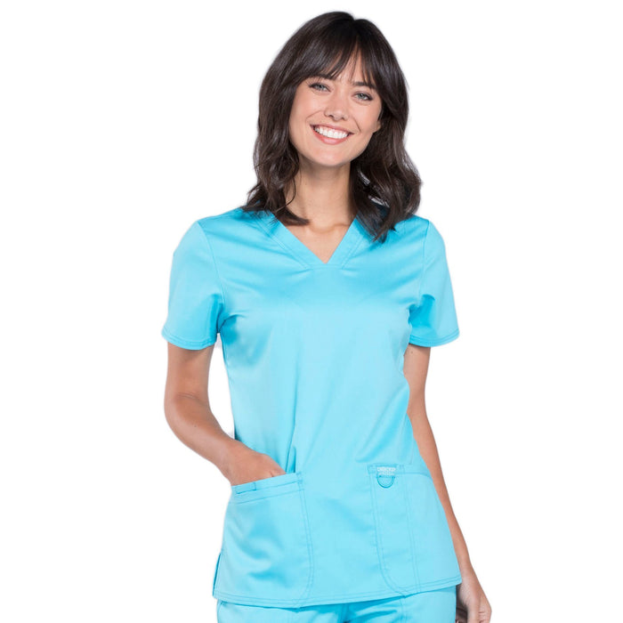 Cherokee Workwear Revolution WW620 Scrubs Top Women's V-Neck Turquoise