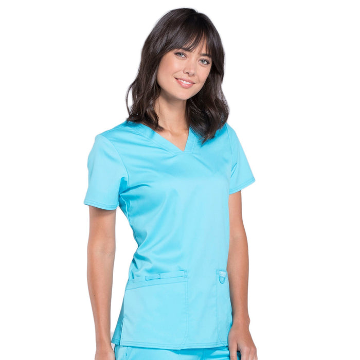 Cherokee Workwear Revolution WW620 Scrubs Top Women's V-Neck Turquoise 5XL