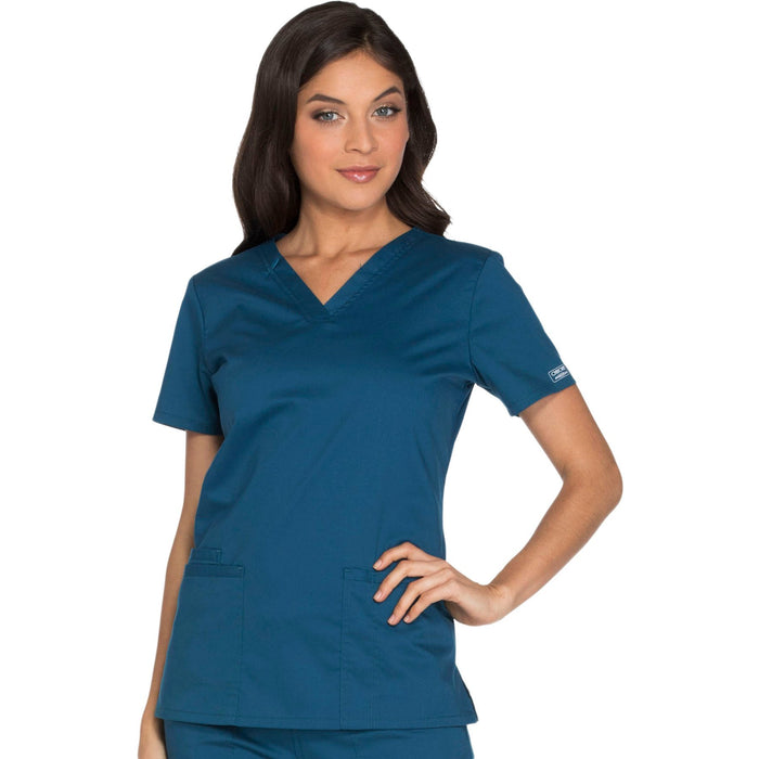 Cherokee Core Stretch WW630 Scrubs Top Women's V-Neck Caribbean Blue 4XL