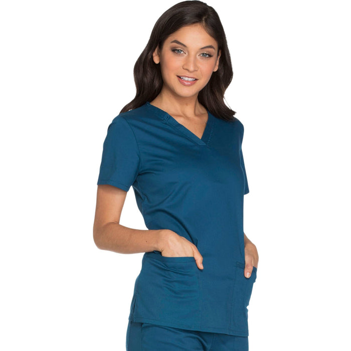 Cherokee Core Stretch WW630 Scrubs Top Women's V-Neck Caribbean Blue 5XL