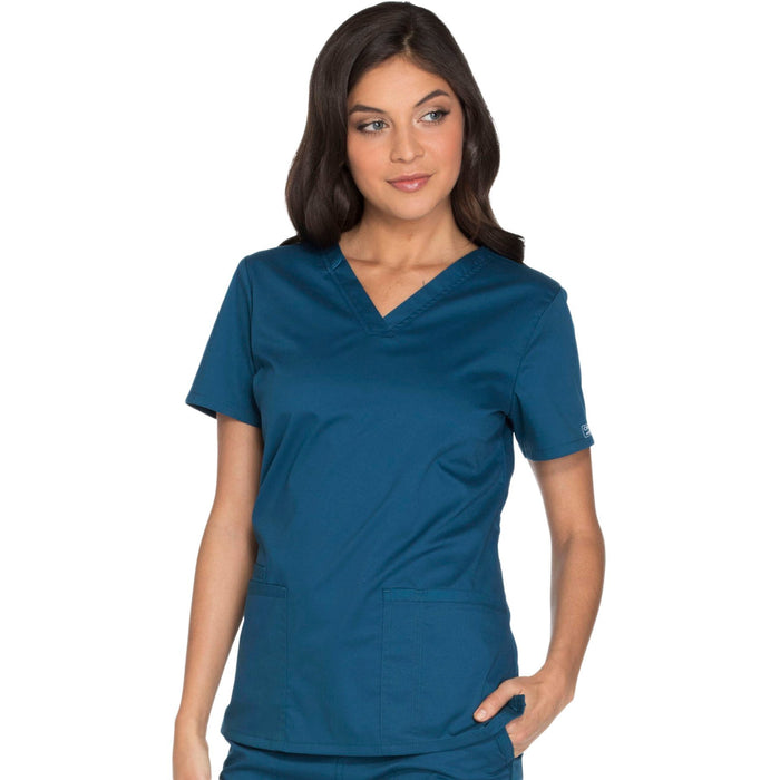 Cherokee Core Stretch WW630 Scrubs Top Women's V-Neck Caribbean Blue
