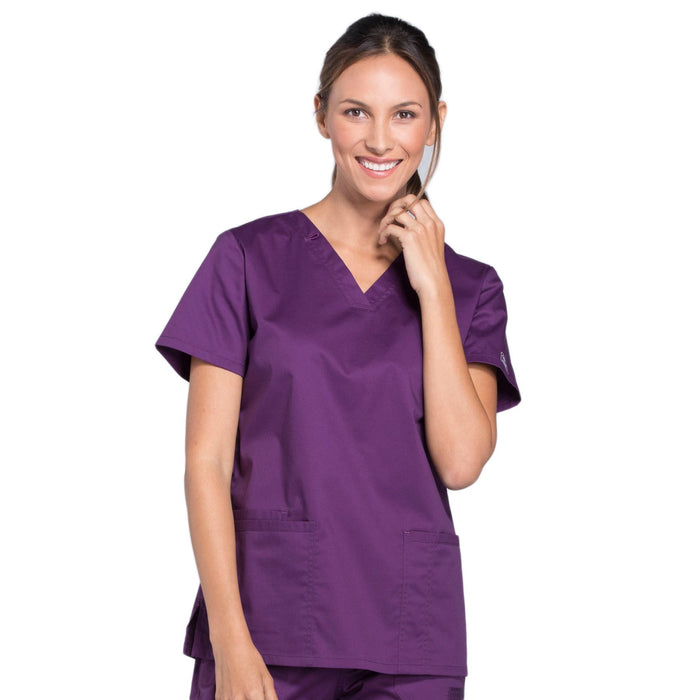 Cherokee Core Stretch WW630 Scrubs Top Women's V-Neck Eggplant